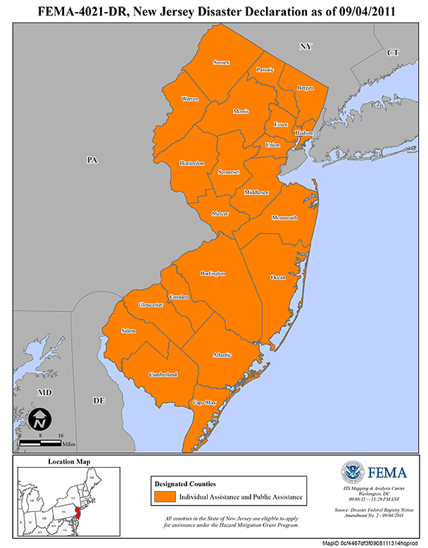 Counties affected by Hurricane Irene