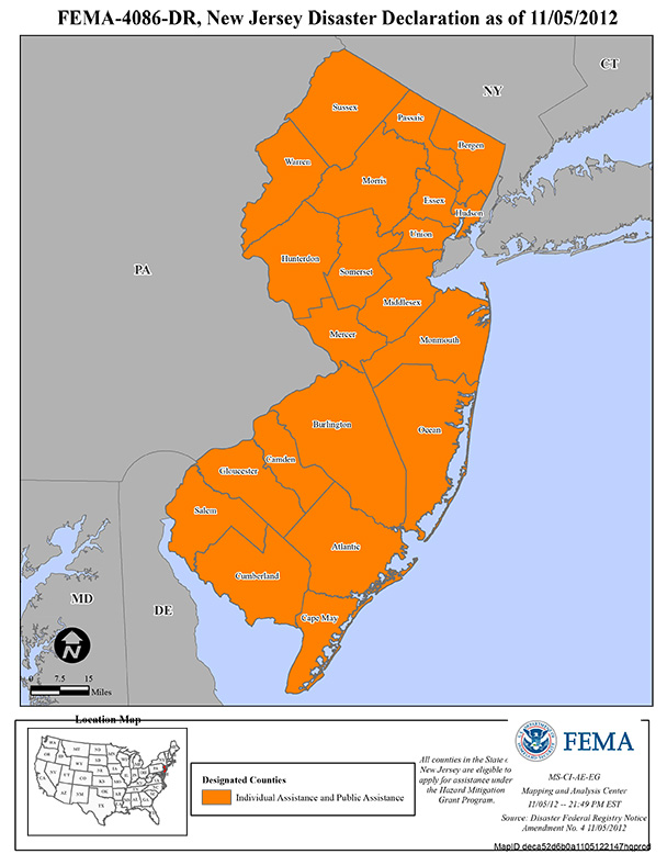 Counties affected by Hurricane Sandy