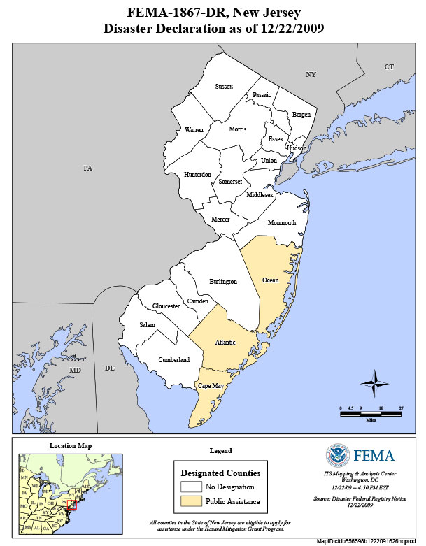 Counties affected by Severe Storms and Flooding Associated with Tropical Depression Ida and a Nor'easter