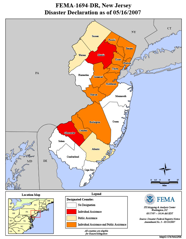Counties affected by Severe Storms and Inland and Coastal Flooding in 2007
