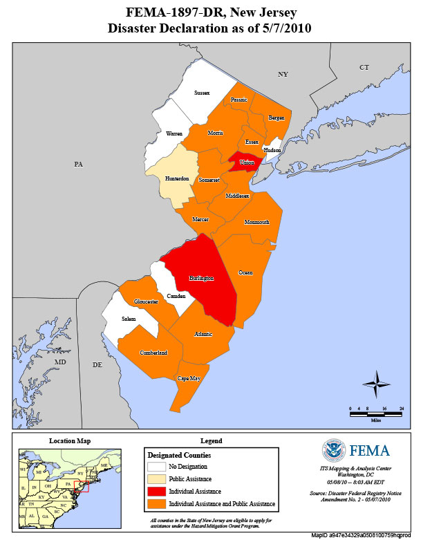 Counties affected by Severe Storms and Flooding in 2010