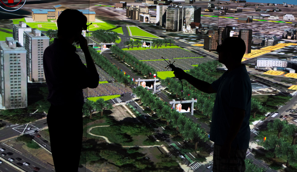 Team members at Rowan University using VR technology to analyze an area on a New Jersey map